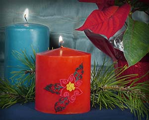 Embroidered Christmas Candle