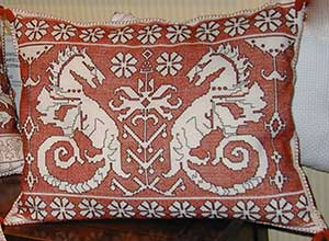 Modern Sofa Pillow Embroidered in Assisi Style